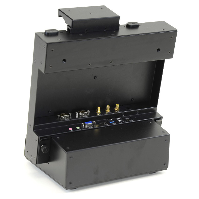 F110 tablet ruggedized all metaltabletop or bench-mounted dock showing I/O ports from rear