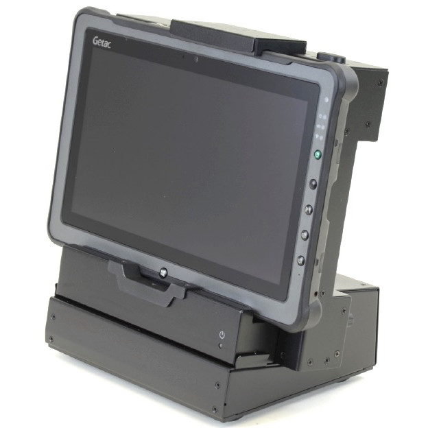 F110 tablet installed in ruggedized all metal tabletop or bench-mounted dock with port replication right oblique view