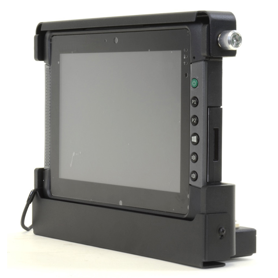 Rugged T800 tablet shown installed in port replicating vehicle dock viewed from the front right