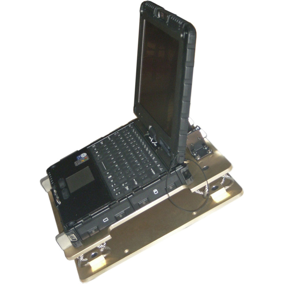 Ruggedized V110 notebook tracked vehicle mount from the front left