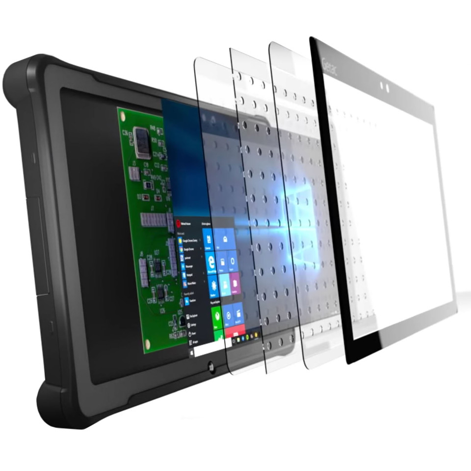 Rugged F110 tablet integrated optically bonded NVIS filter showing TFT display bonding layers