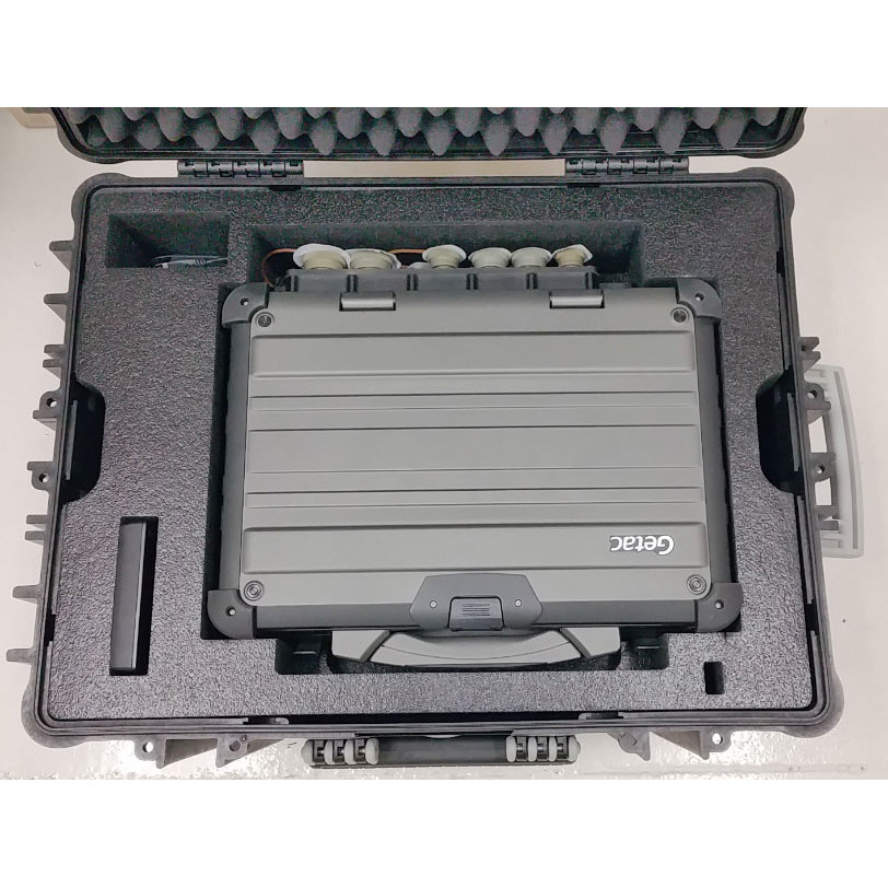 PCG custom transit case showing X500 with MILBOX and accessories from the top