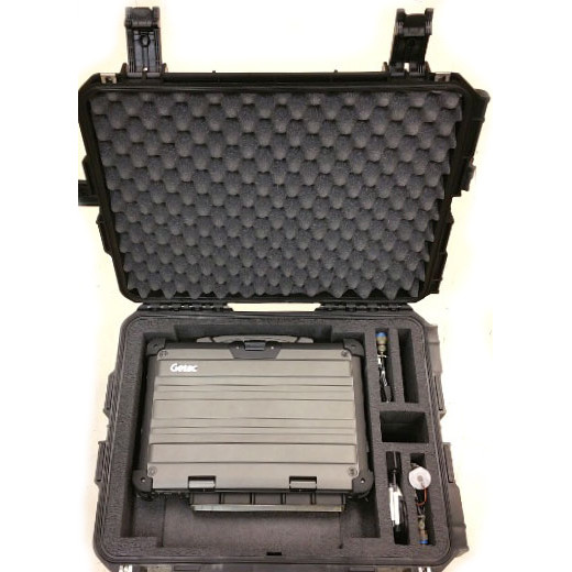 PCG custom transit case showing X500 with MILBOX and cables from the top