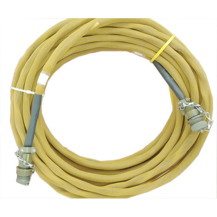 100' armored shielded interface cable coiled for installation in transit case with MIL-D-38999 straight plugs