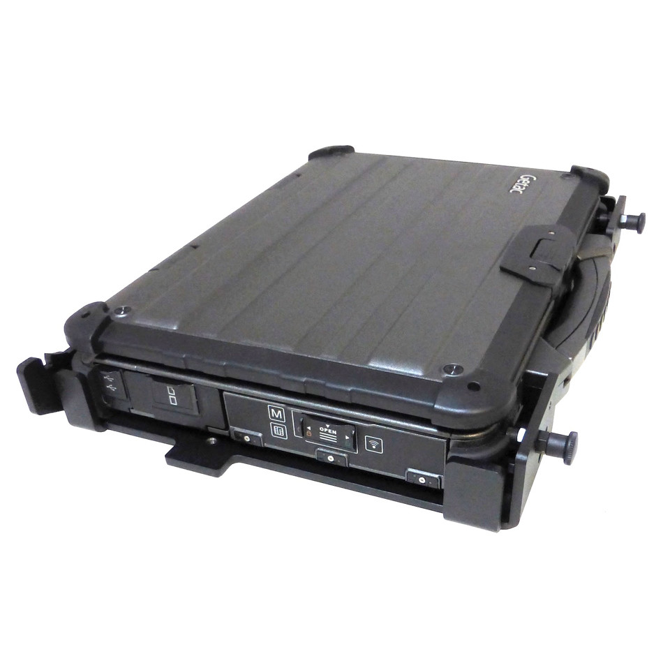X500 laptop installed in all metal, wheeled vehicle mount left oblique view