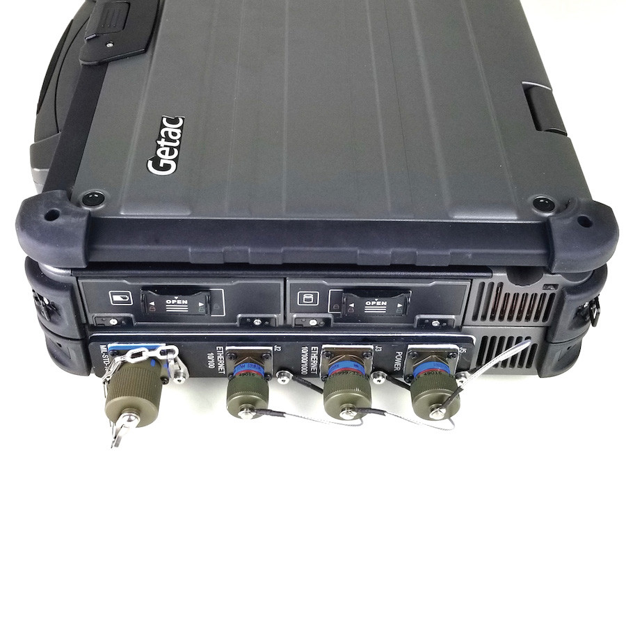 X500 laptop single high side expansion chassis MILBOX with 38999 receptacles for power, 10/100/100 Ethernet, 10/100 Ethernet and 1553 interfaces