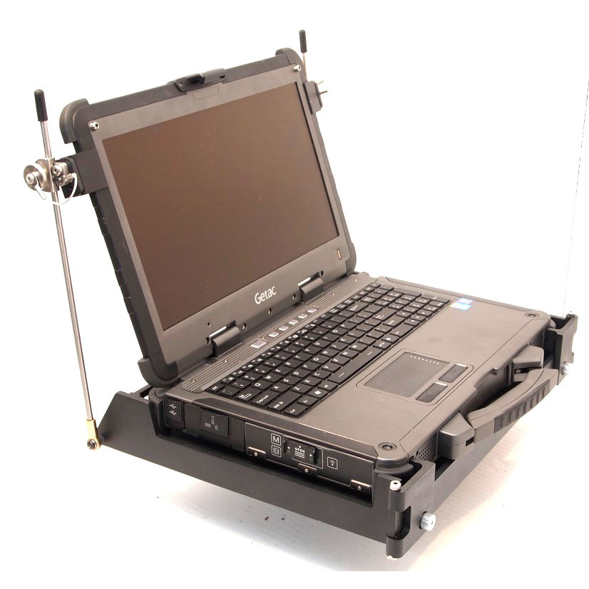 X500 laptop installed in its MIL-S-901D mount qualified under the classification: Lightweight Test, Grade B, Class I, Type A viewed from the left front