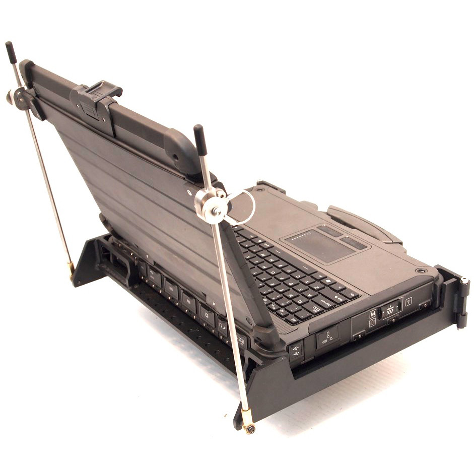 X500 laptop installed in its MIL-S-901D mount qualified under the classification: Lightweight Test, Grade B, Class I, Type A viewed from the left rear and showing the display support arms
